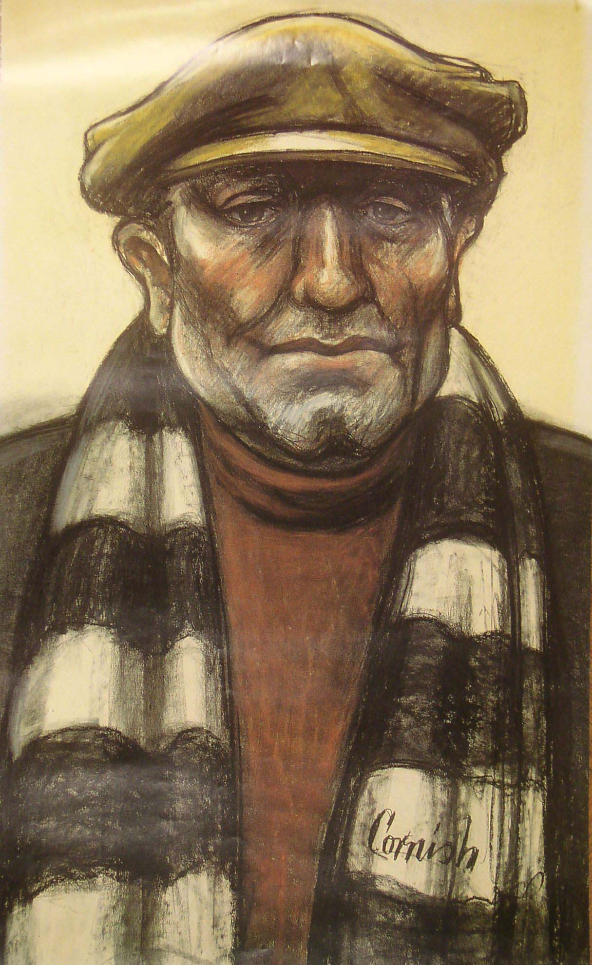 a pastel portrait of a man in flat cap and a black and white scarf around his neck