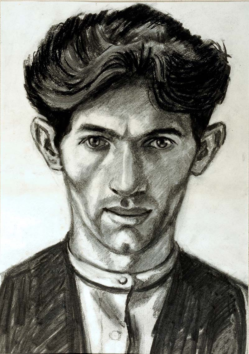 a black and white charcoal sketch of a young man with sort hair and collarless shirt