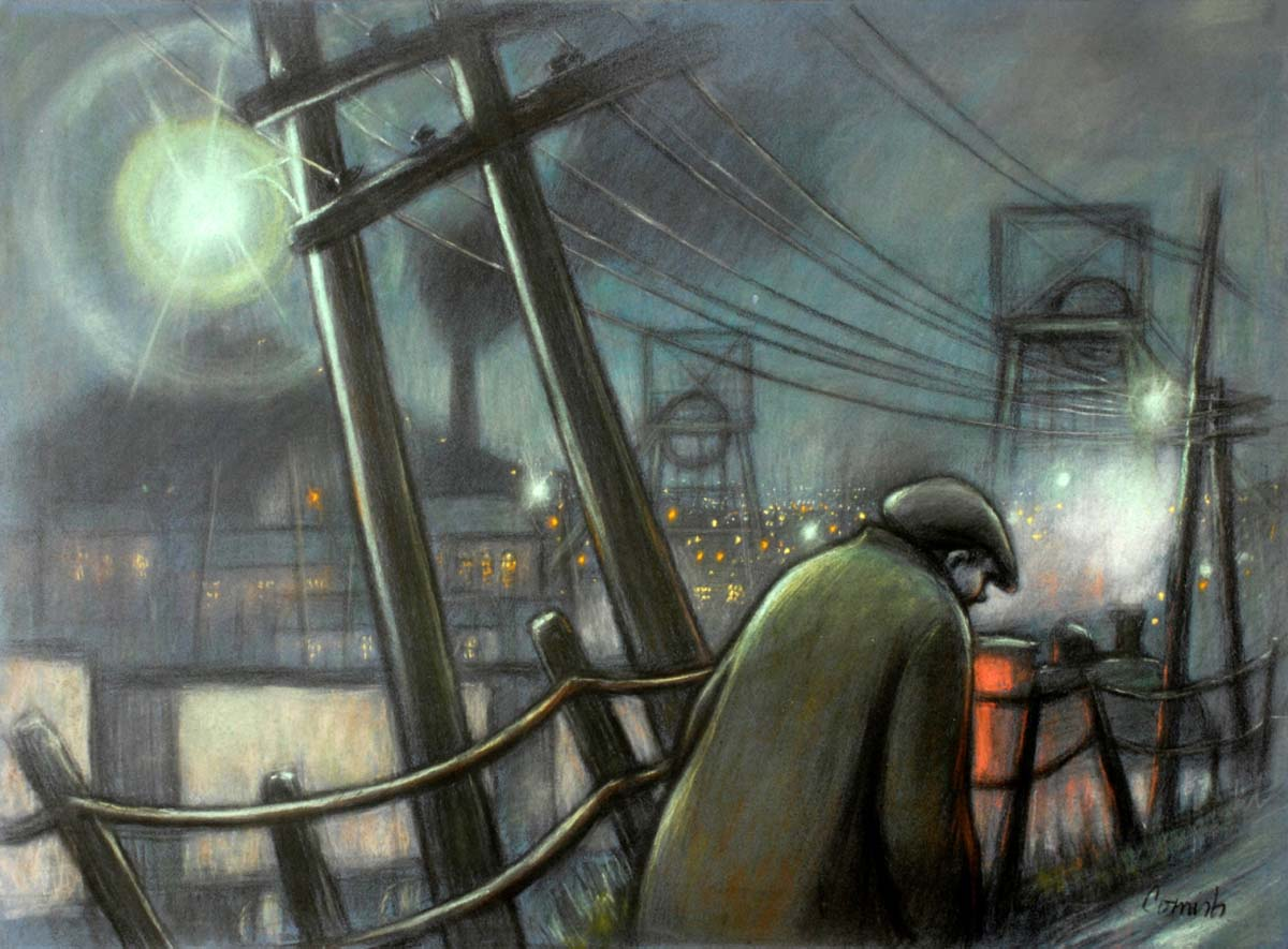 a painting of a man walking down a lane with telegraph poles, pit heads and warehouses in the surrounding gloom