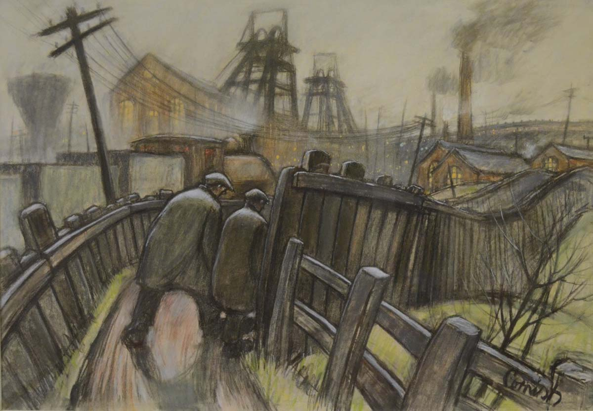 a pastel drawing of two huddled men in flat caps and overcoats making their way down a fenced lane through an industrial landscape of pit heads and rail yards