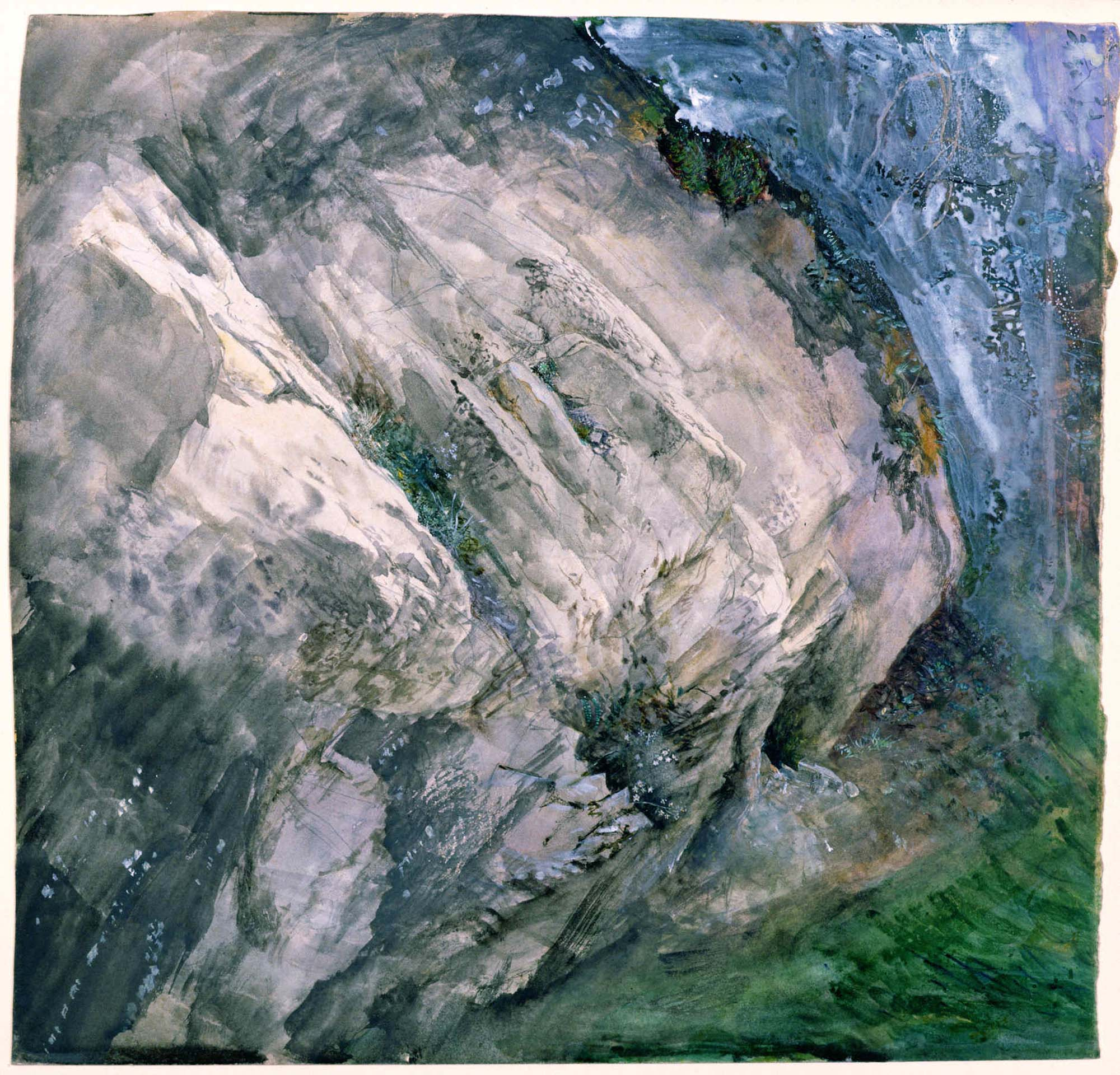 a watercolour study if a large rock outcrop covered in vegetation