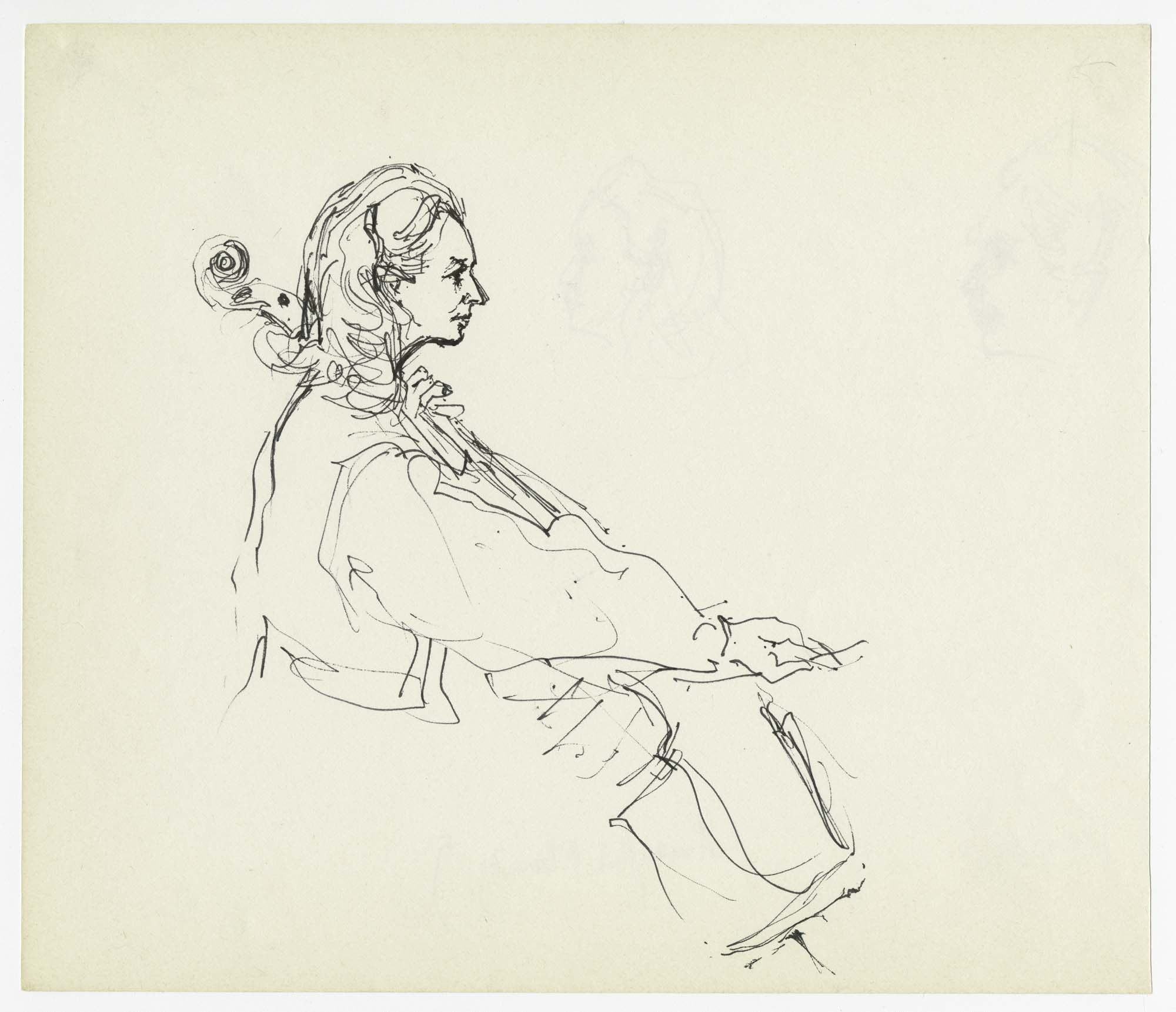 a side profile sketch of a woman playing the cello