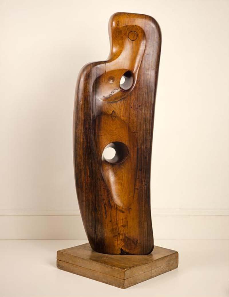 an abstract wood sculpture