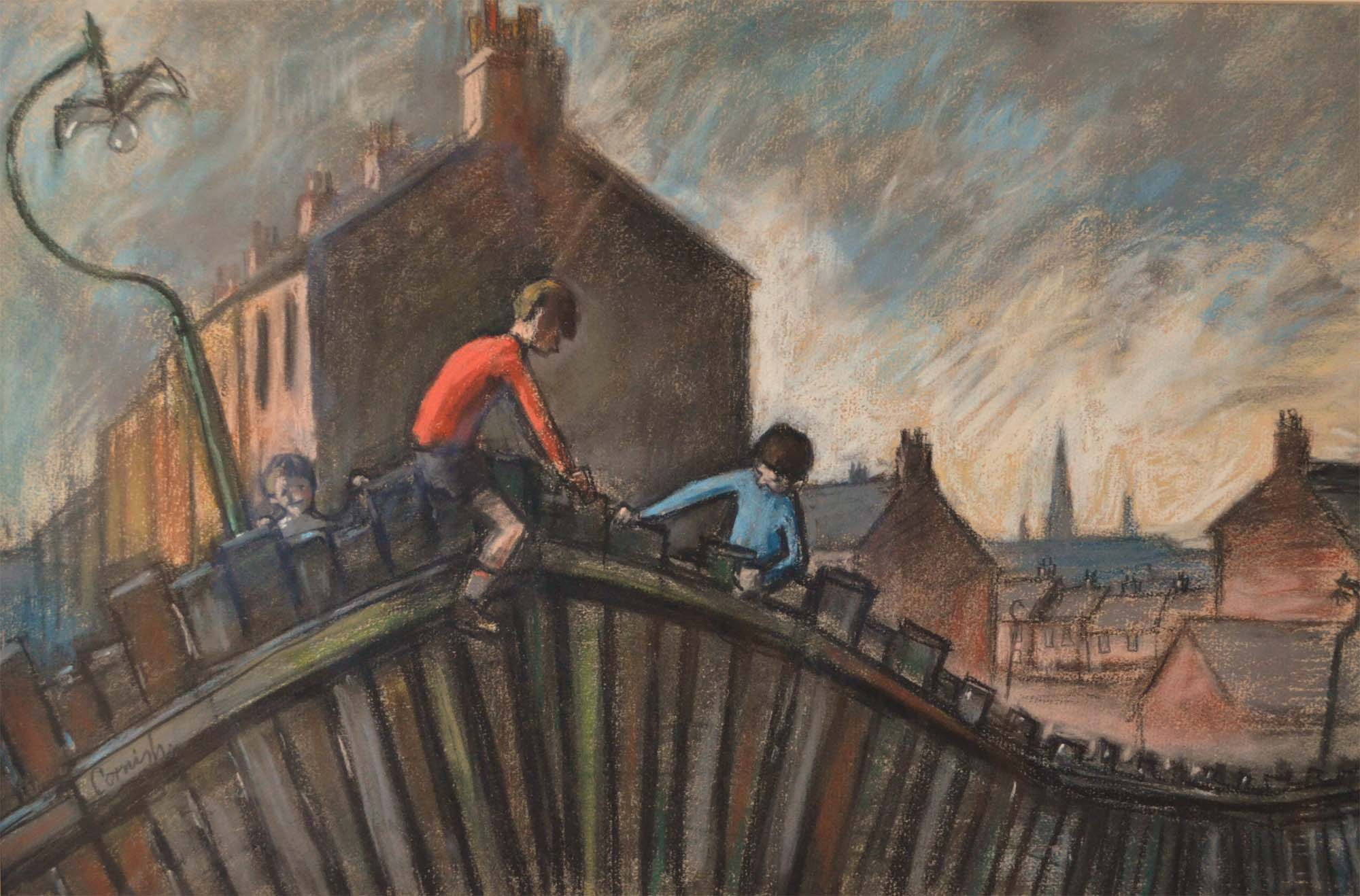 a charcoal sketch of two boys balancing on a fence