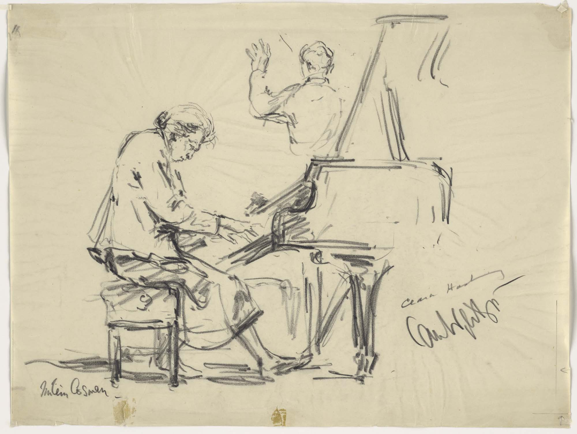 a sketch of a woman playing a grand piano