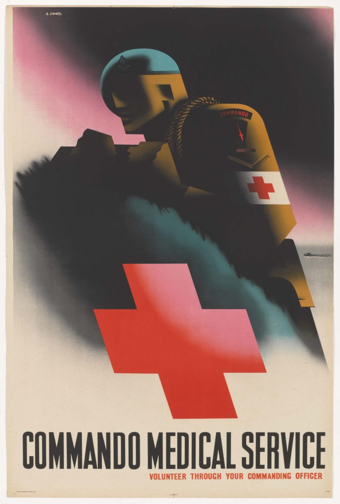 a poster with a green bereted figure with a stethoscope and a large red cross at the bottom