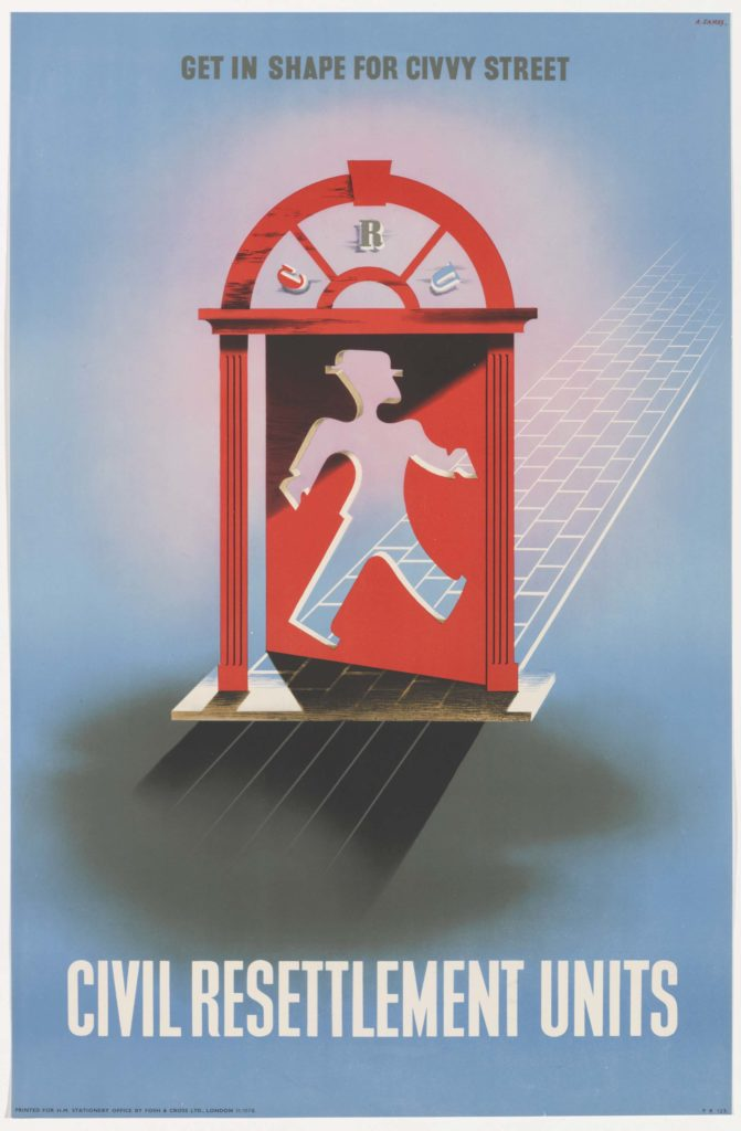a poster featuring a jaunty character walking through a red doorway