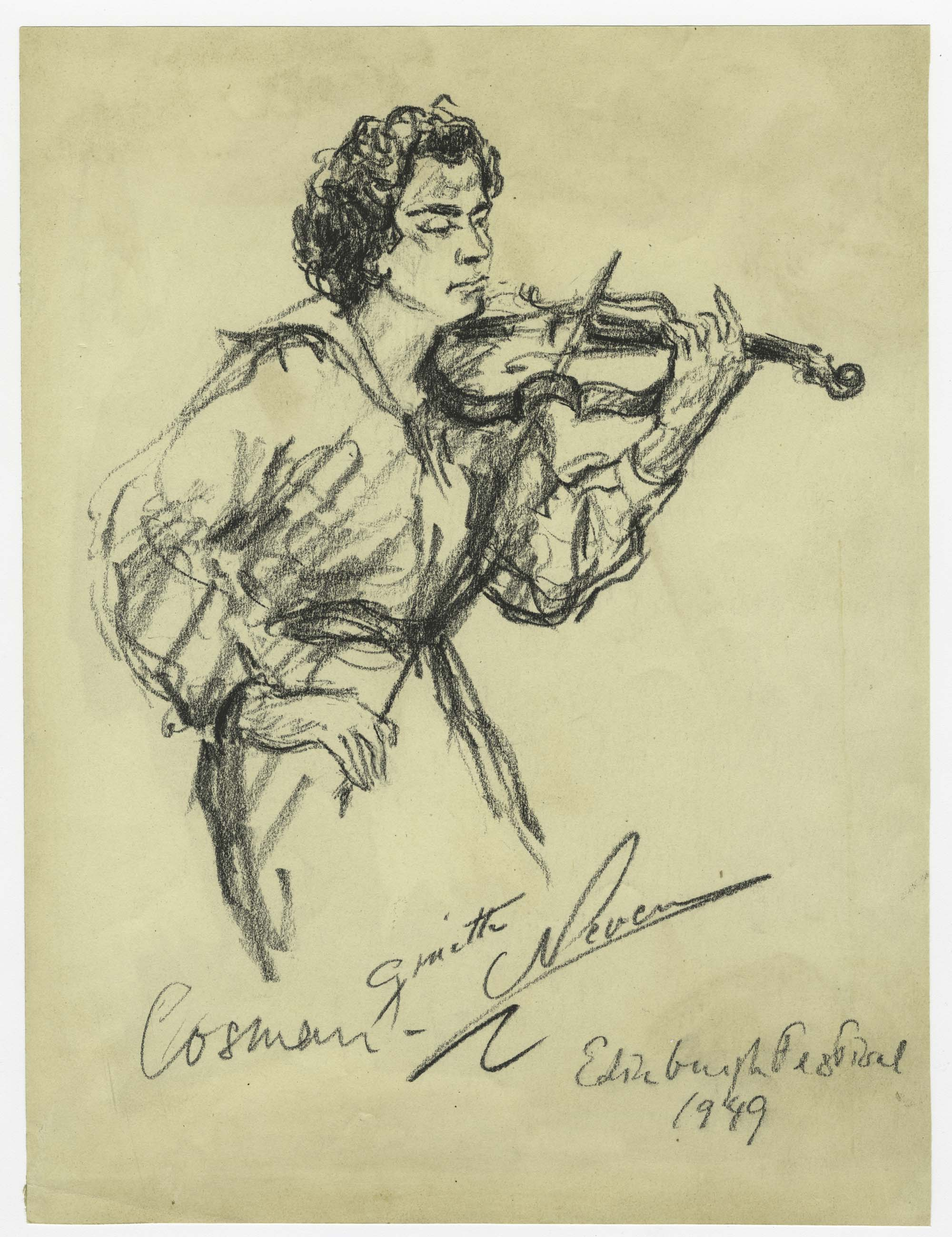 a sketch of a woman playing a violin