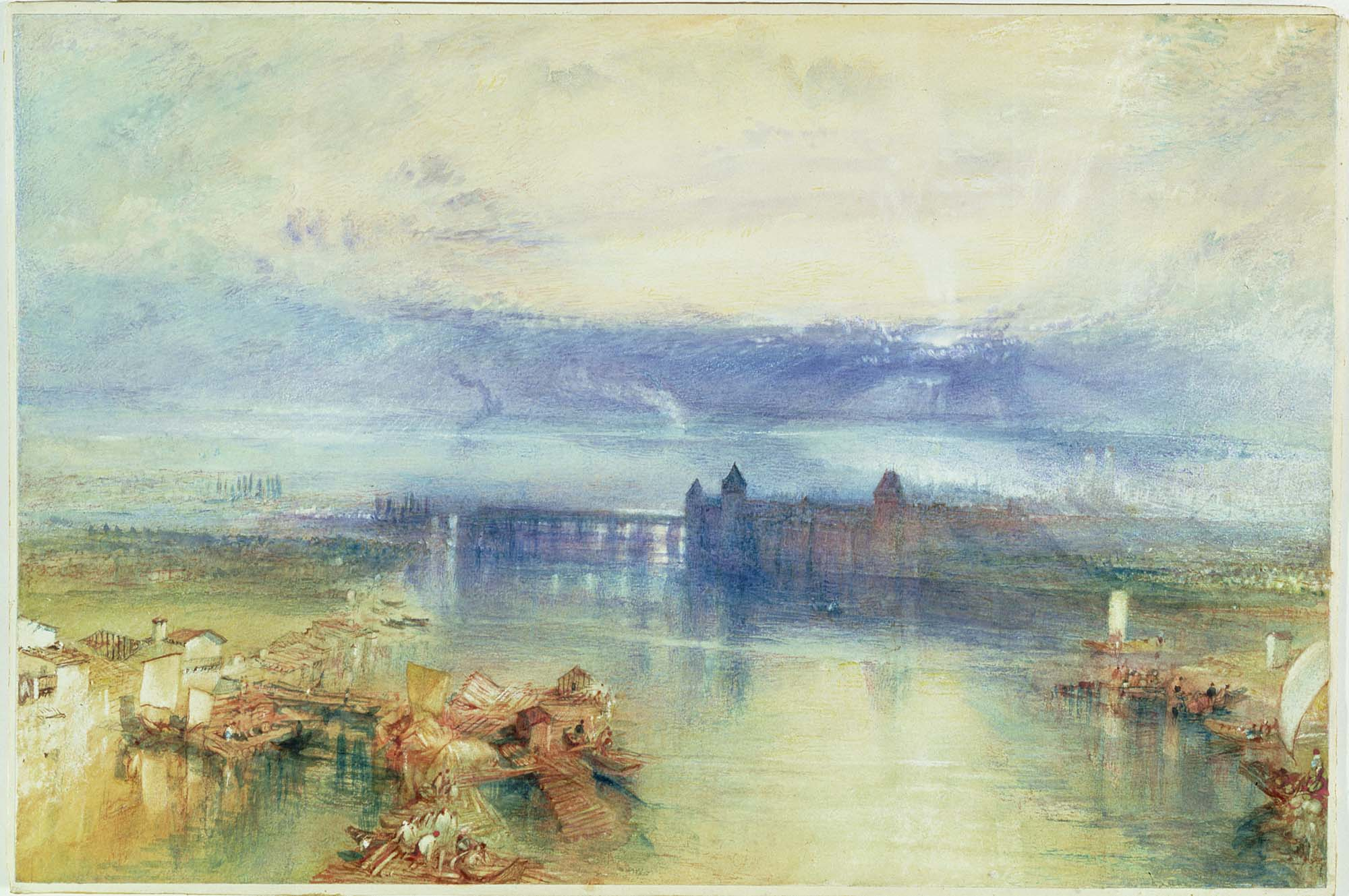 a classic Turner watercolour with golden yellow and blue hues across a lake with buildings in the distance