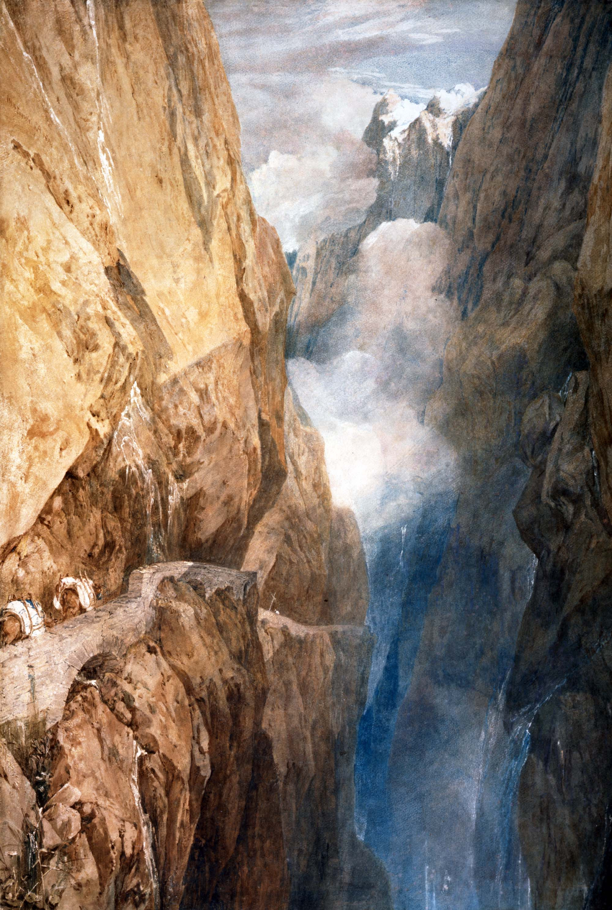 a dramatic watercolour of a moutain pass with precipitous path weaving high upon a mountain cliff