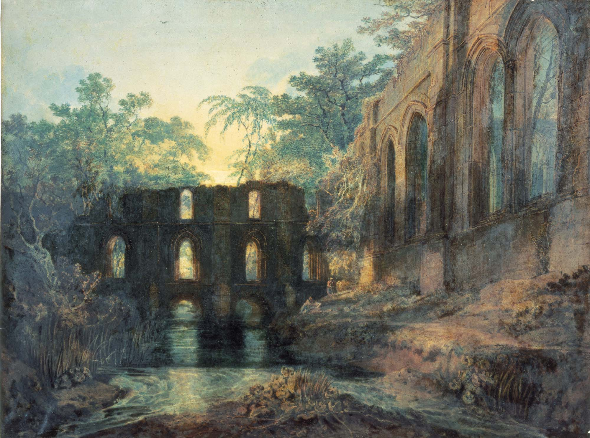 a watercolour of a ruined Abbey with a sunset behind