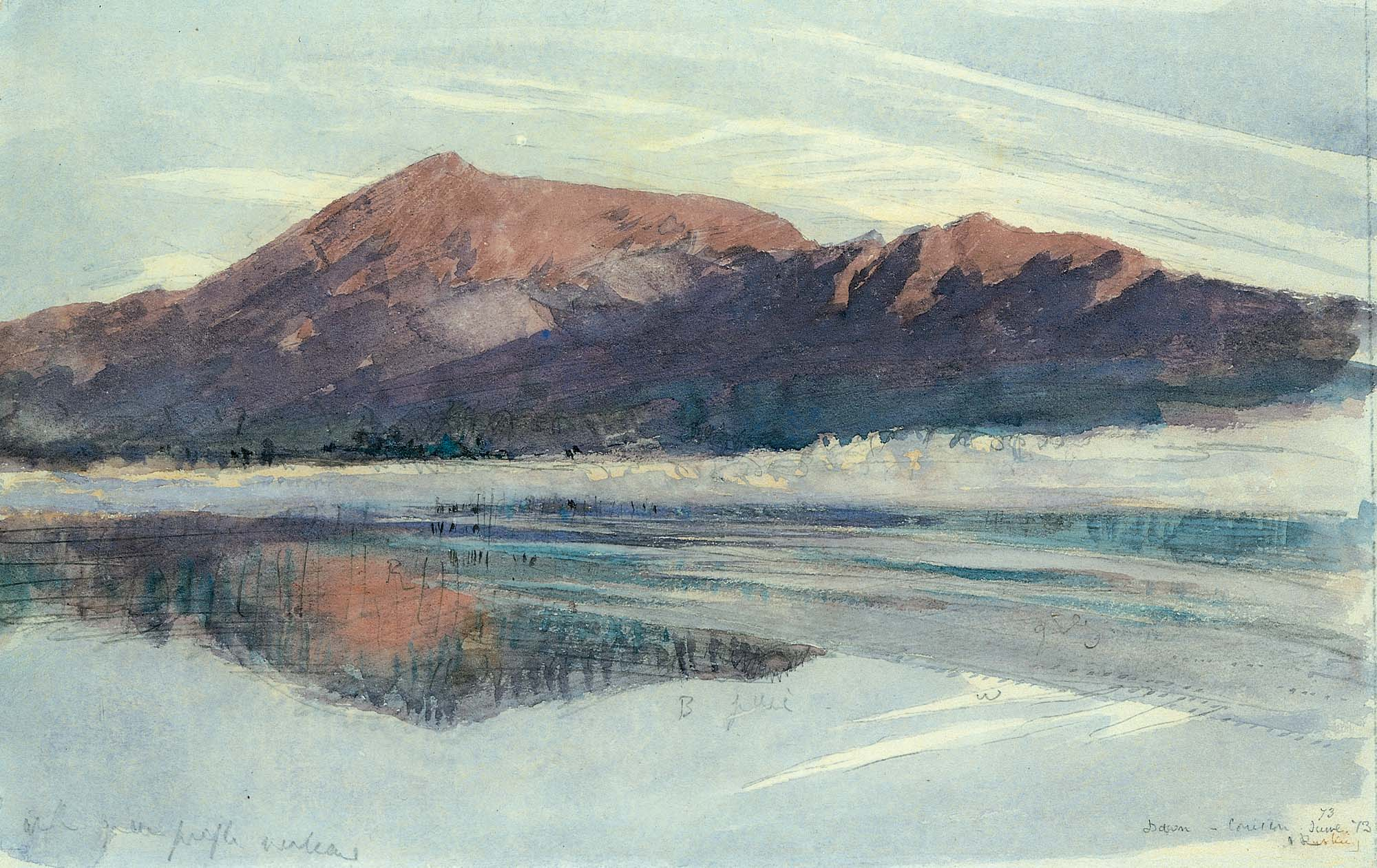 a watercolour of a hill overlooking a lake