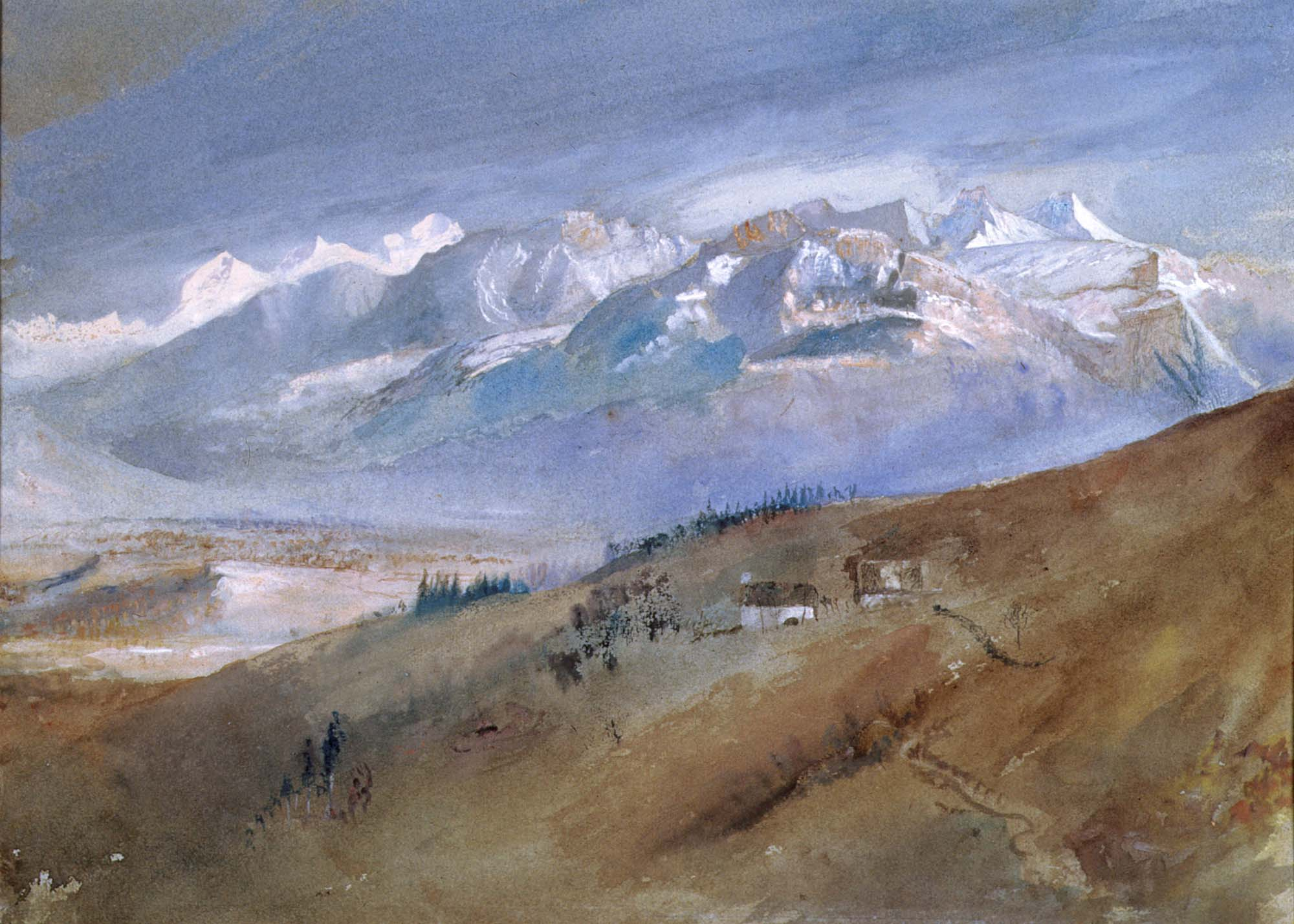 a watercolur scene of snow capped mountains and a hill in the foreground