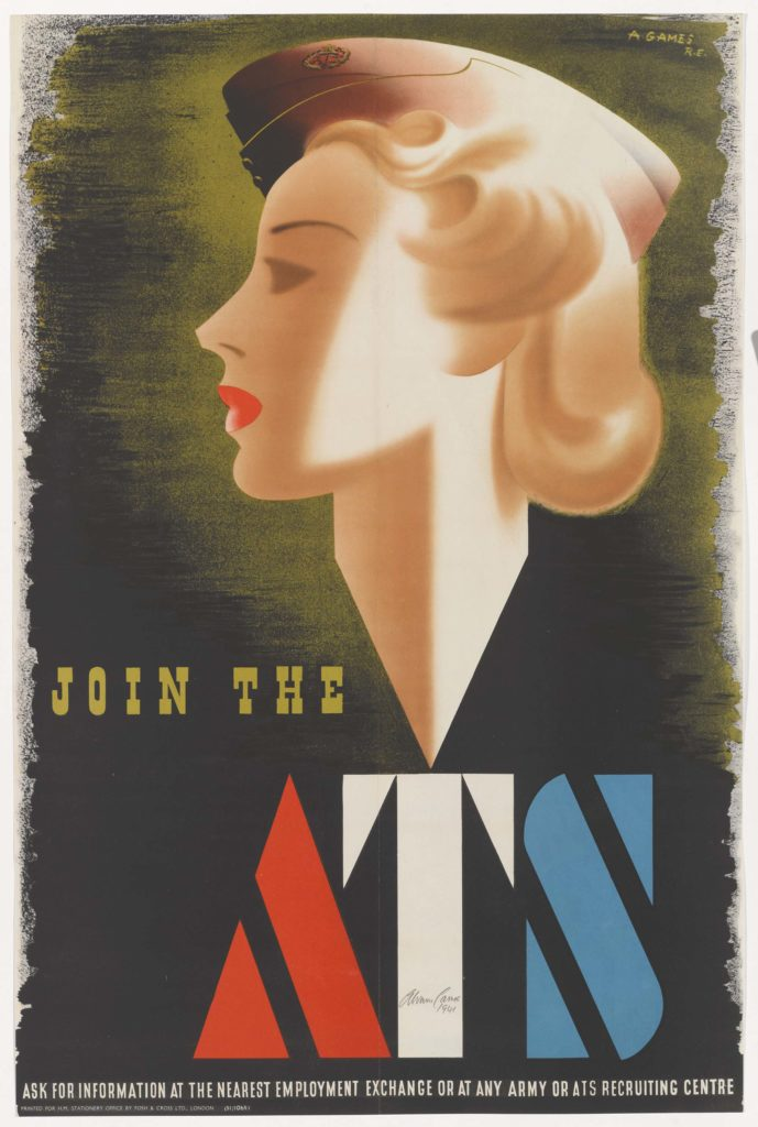 a poster with a blonde woman with red lips i side profile wearing a forage cap