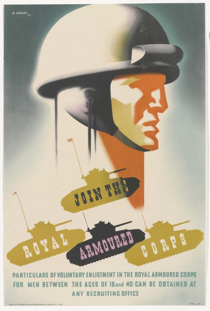 a poster with a soldier in a crash helmet and four tanks below him