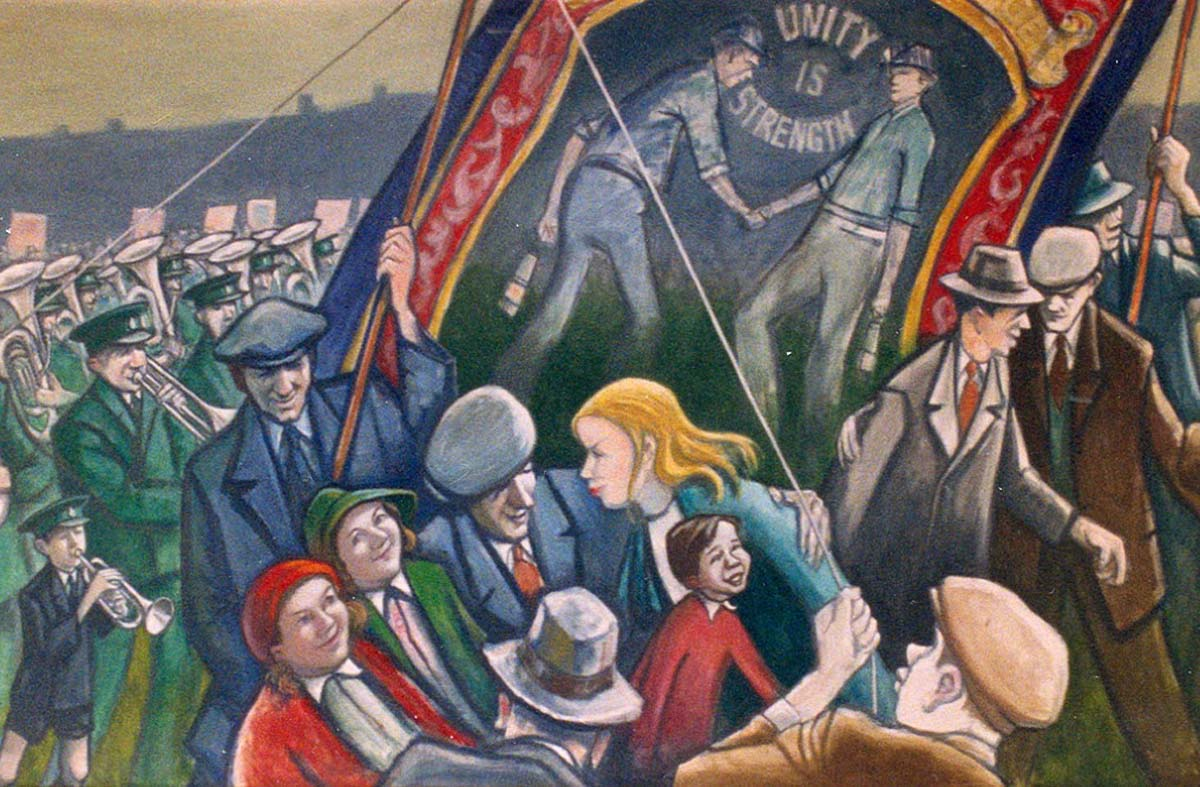 a detail from a painting showing men and families at a gala holding banners