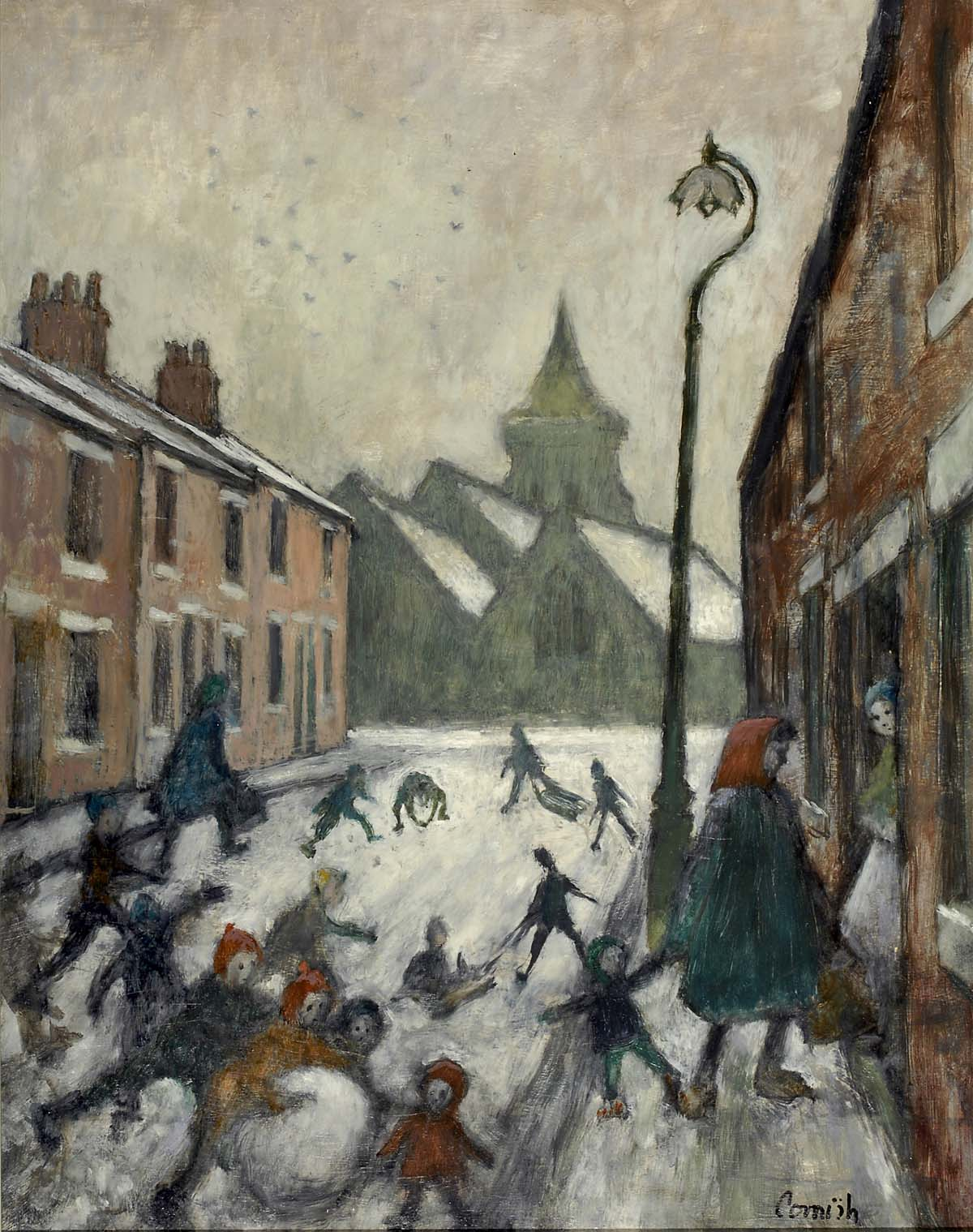 a painting of small children playing in the snow in a street of terraced houses as two women talk on a doorstep