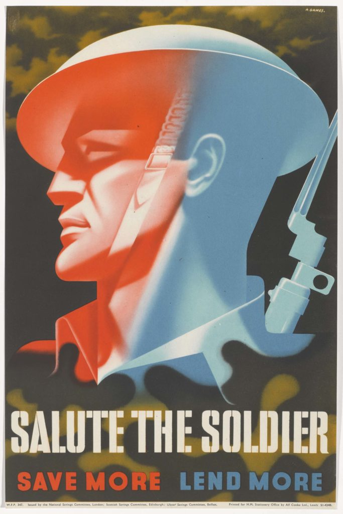 a poster with the silhouetted head of a soldier with tin hat and bayonet