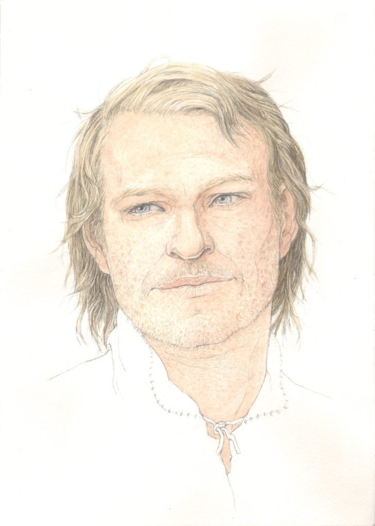colour illustration of man with light skin and mid length blonde hair