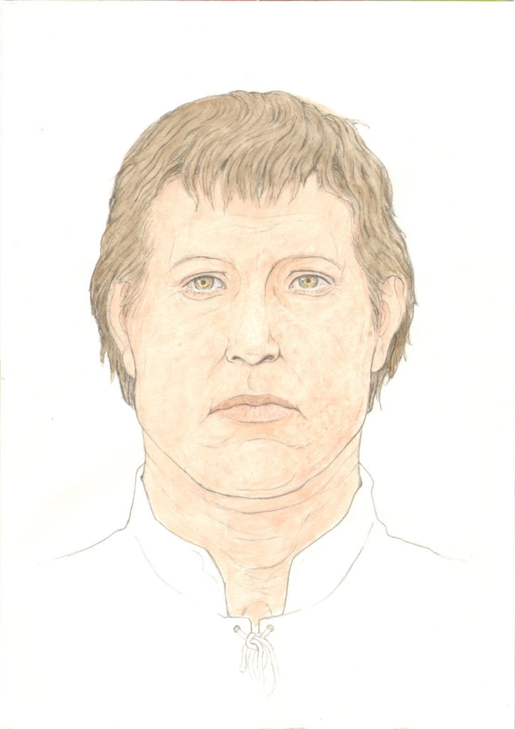 colour illustration of man with light skin and short brown hair