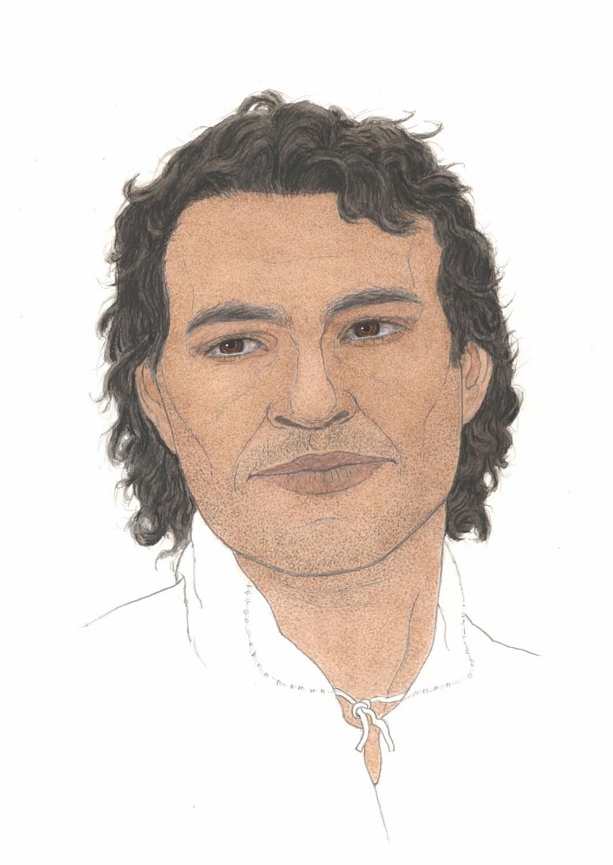 colour illustration of man with dark skin and dark hair