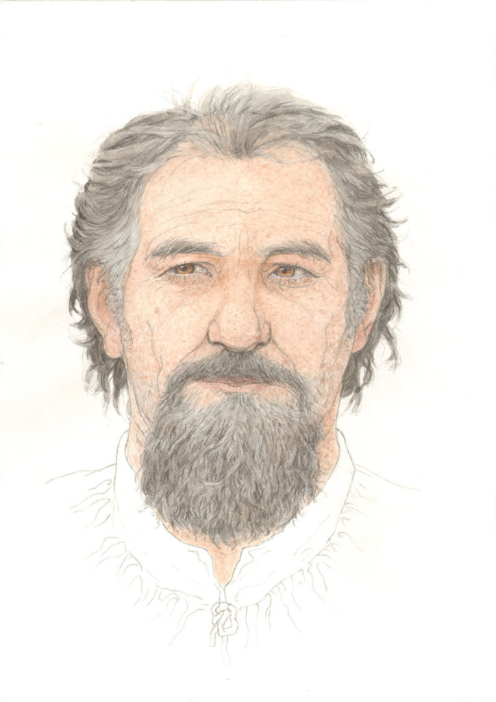 colour illustration of man with light skin and dark hair and beard