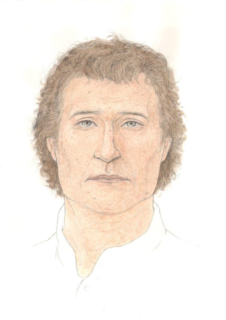 colour illustration of man with light skin and brown curly hair