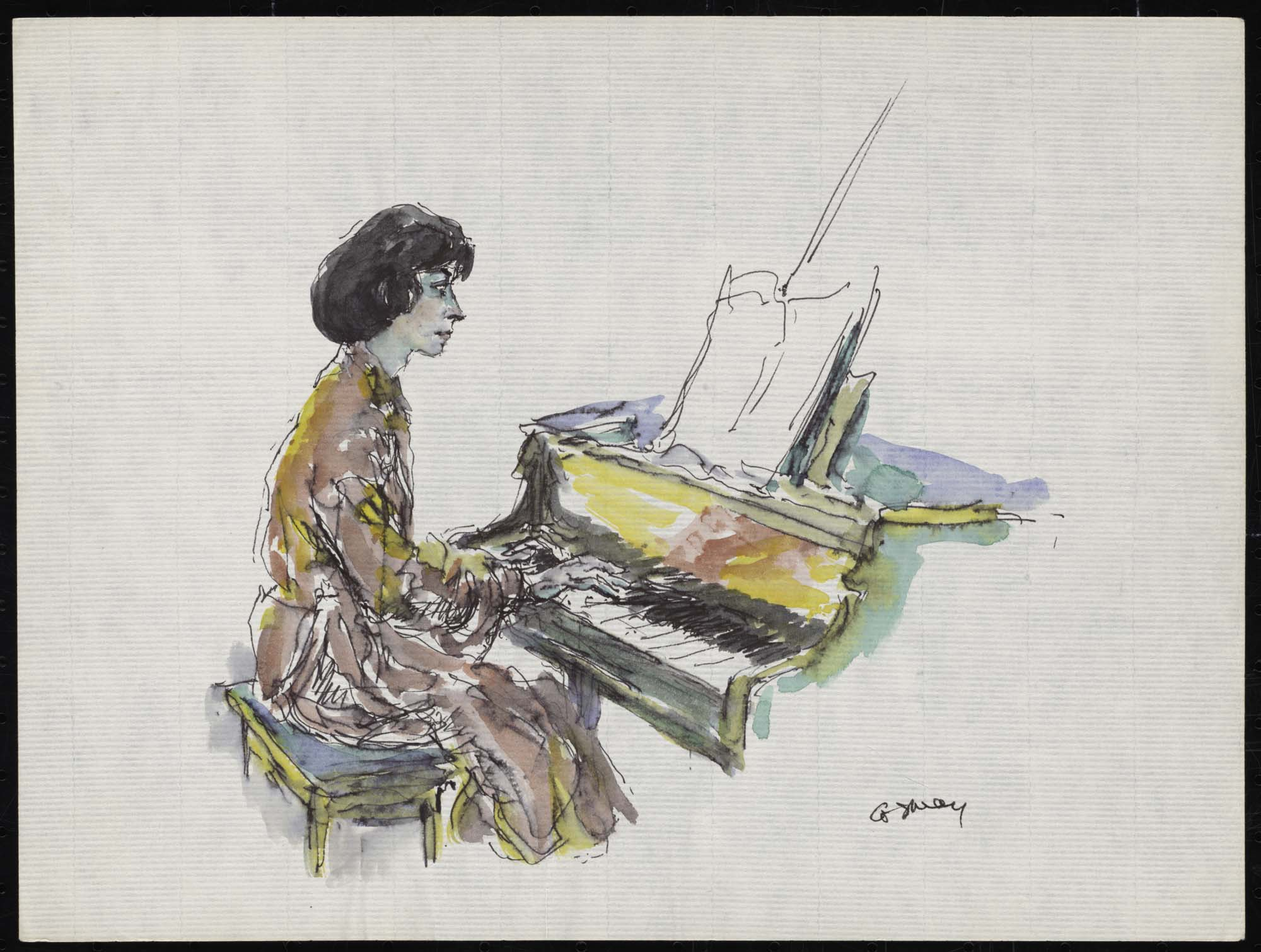 a colour sketch of a woman playing a grand piano