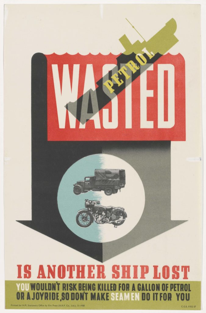a poster featuring a downward arrow, miltray vehicles and the silhouette of a sinking ship