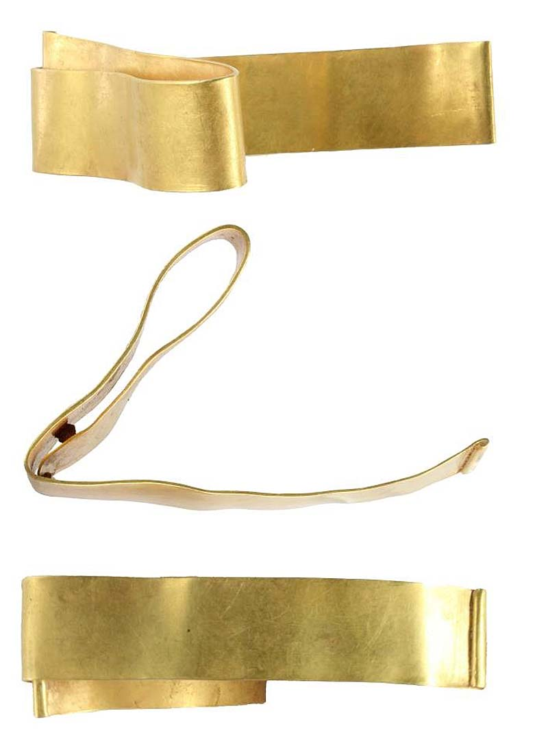 a photo of a gold bracelet seen from several angles