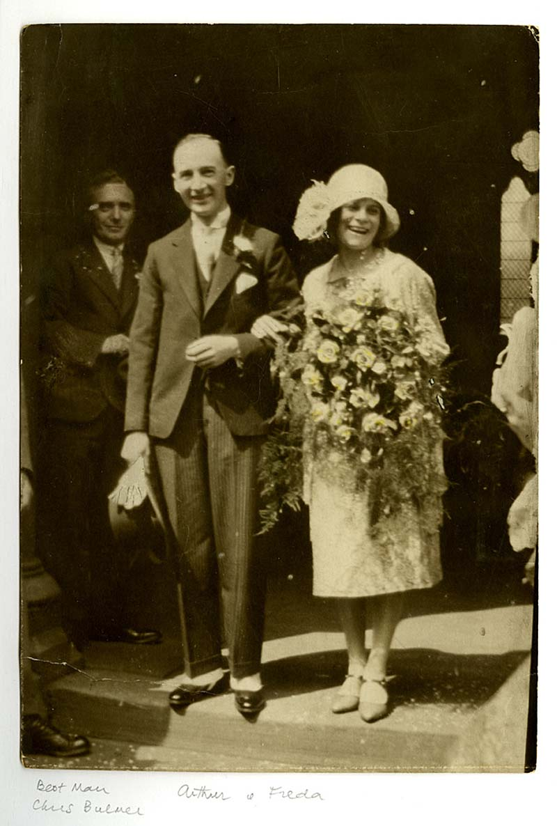 a 1920s photo of a bride and groom