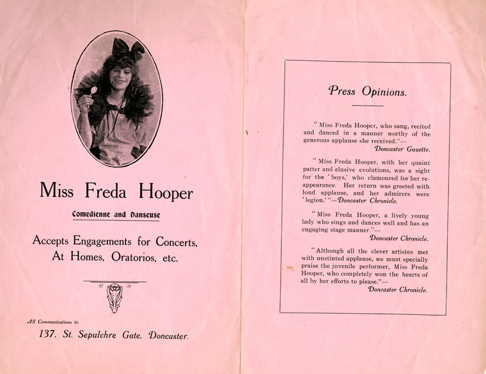 a pink programme advertising the talents of Freda Hooper