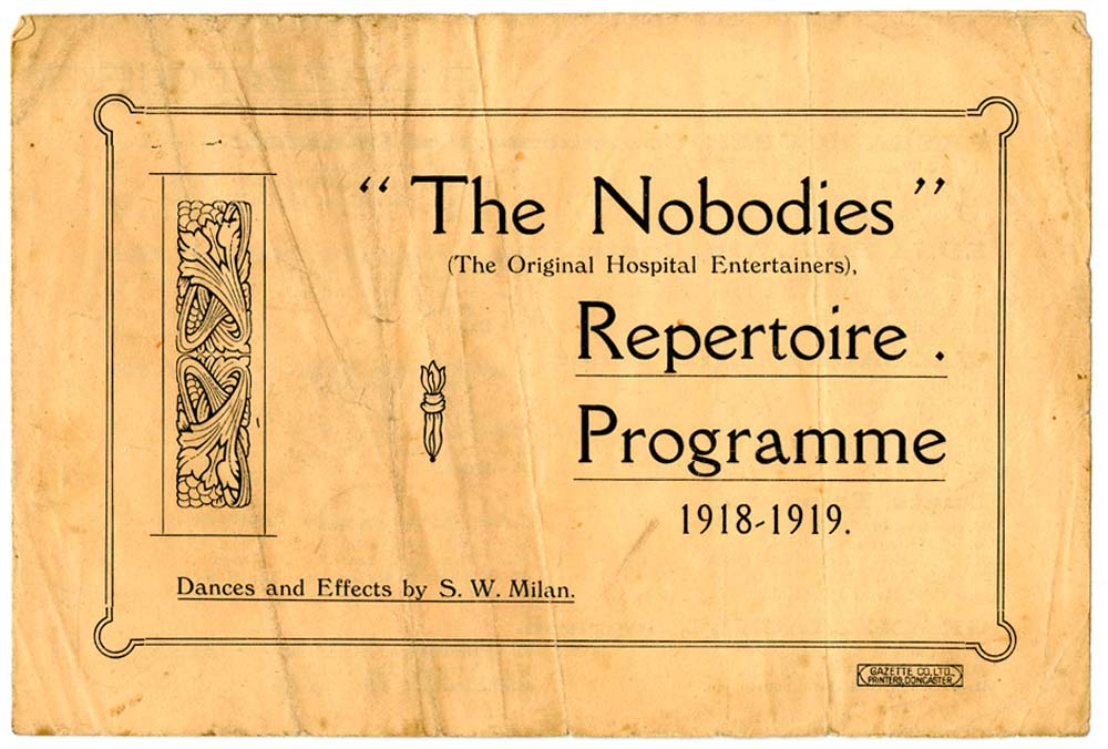 a photo of a programme with the words The Nobodies repertoire programme 1918 - 1919.