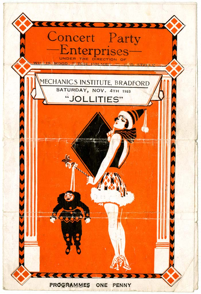 a programme for a theatre troupe called the Jollities with an illustration of man in a clown outfit and a woman in short skirt