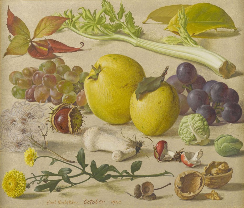 a still life showing picked vegetables and fruit and flowers