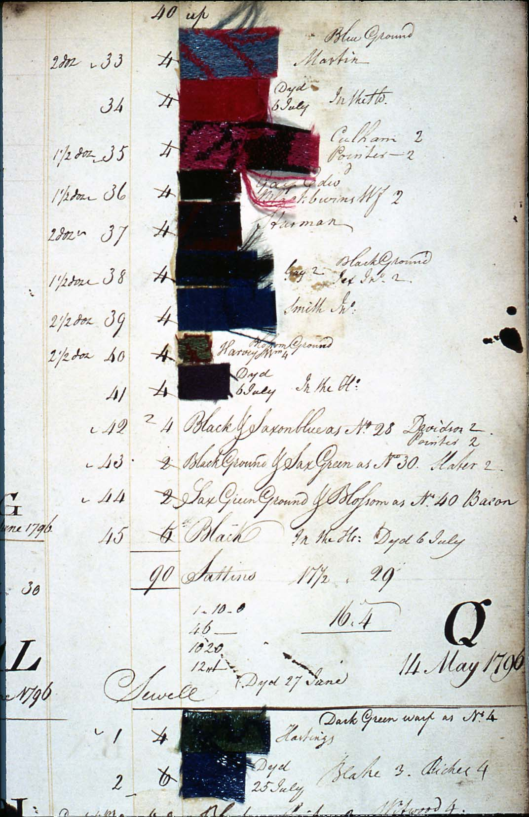 a photo of a pattern book with writing in a ledger style and swatches pasted in