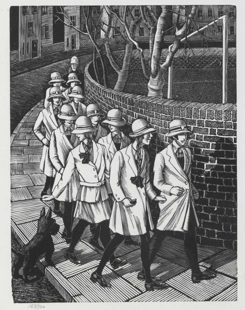 a black and white engraving of a group of schoolgirls in uniform walking down a lane