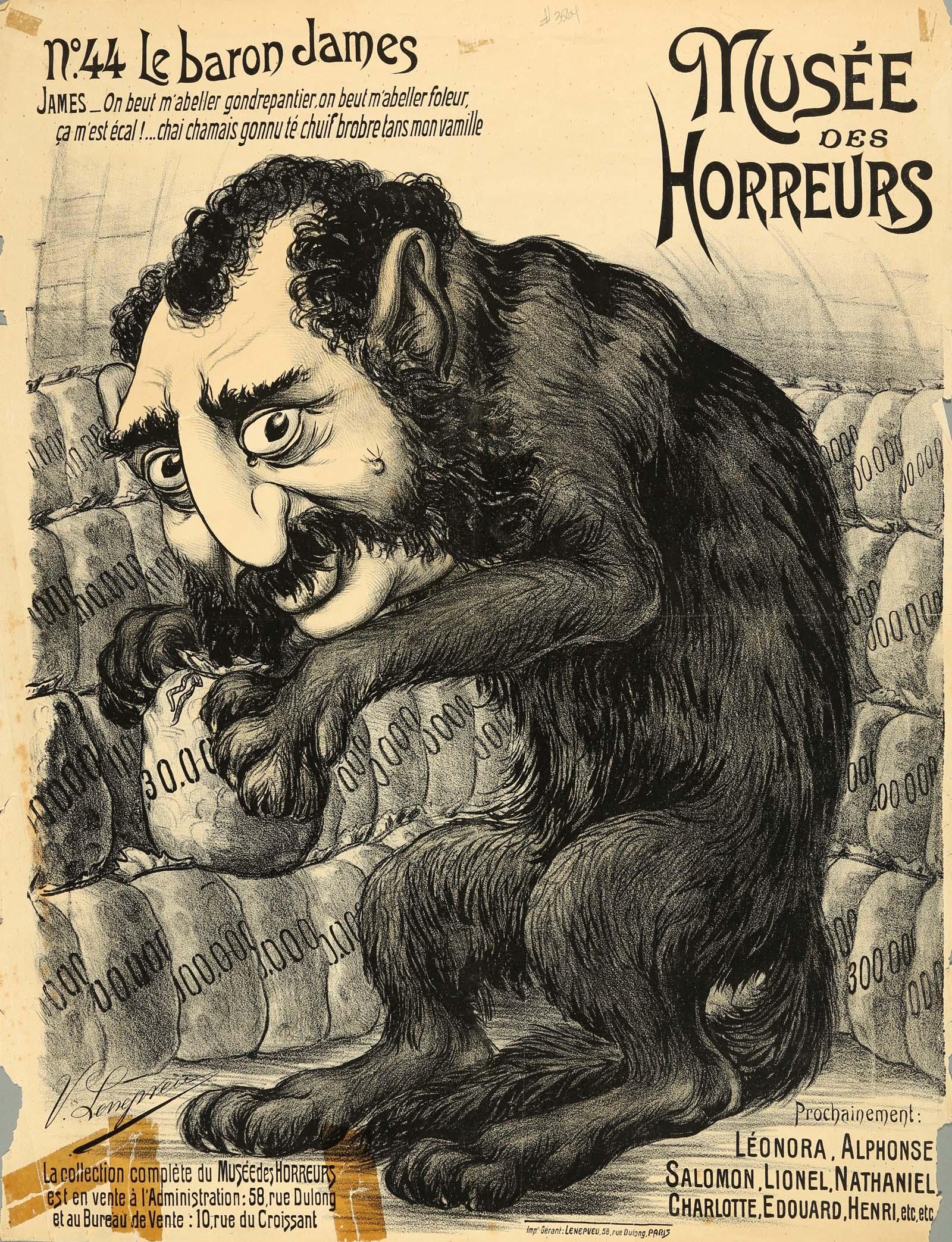 a cartoon of a monekt like figure with a human head counting money