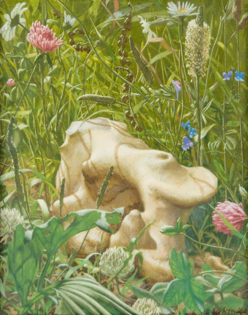 a painting of a piece of flint lying in a meadow with grass and flowers