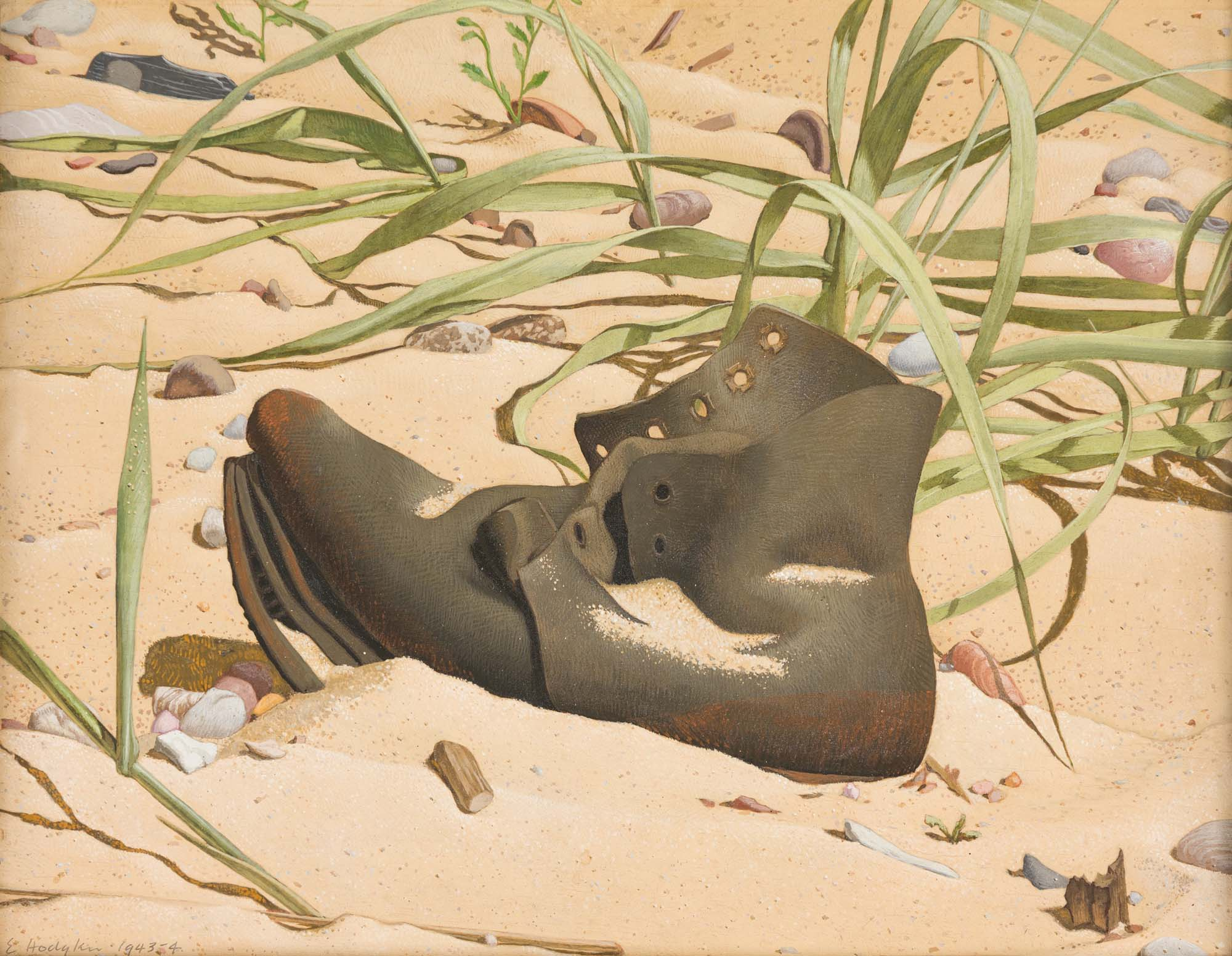 a still life painting of a worn old leather boot on a beach