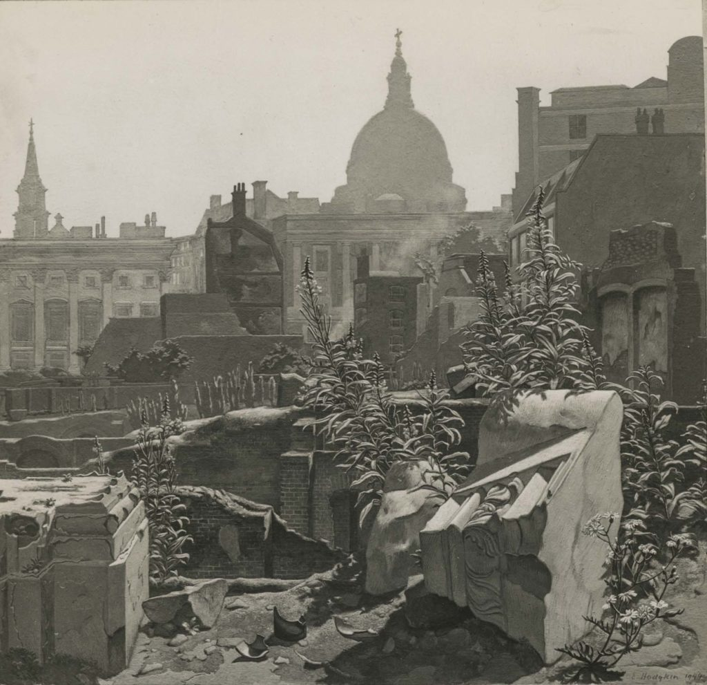 a black and white print of St PAuls with ruins and weeds in the foreground