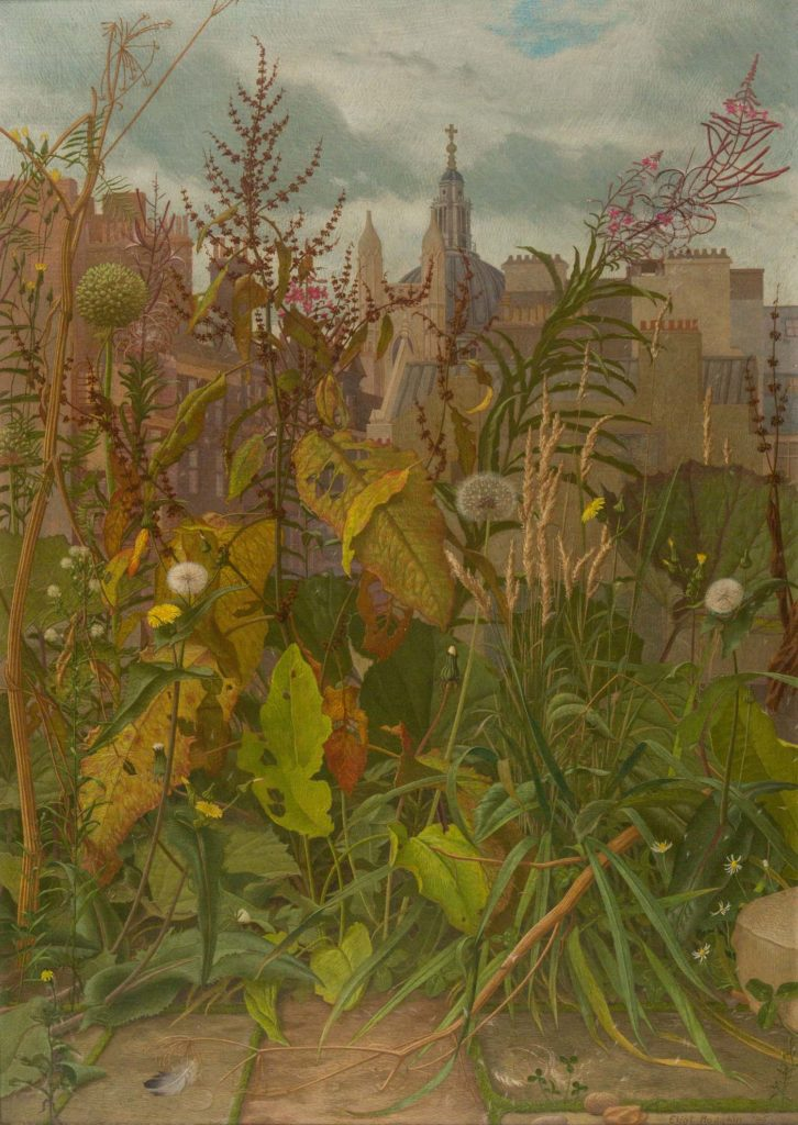 a painting of weeds and wild flowers with a church in the background