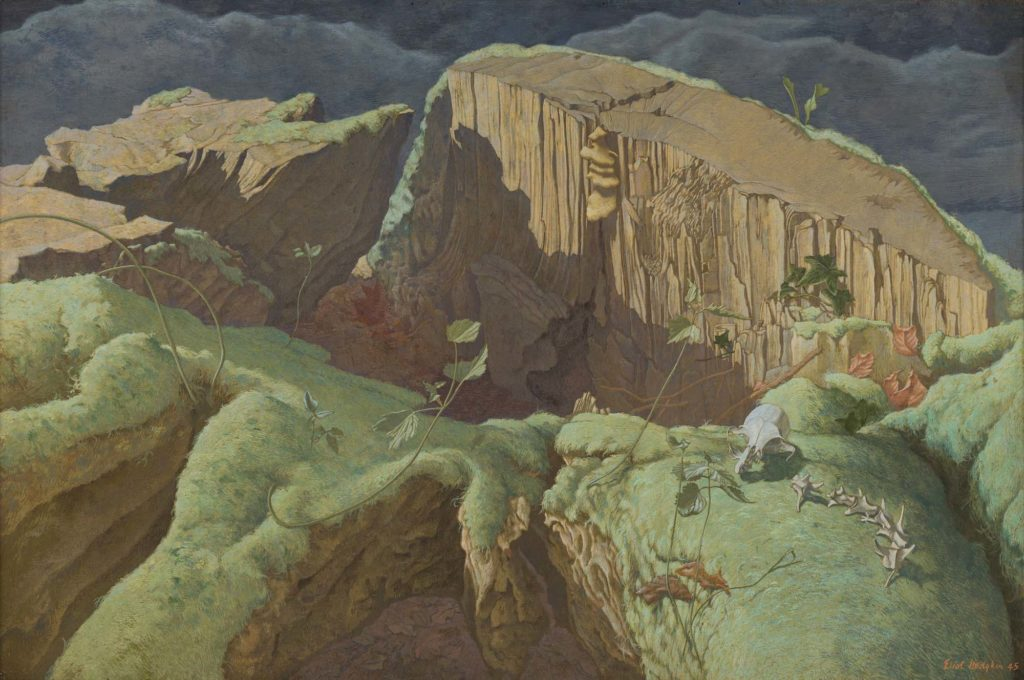 a painting of a deep ravine within a valley seen from above