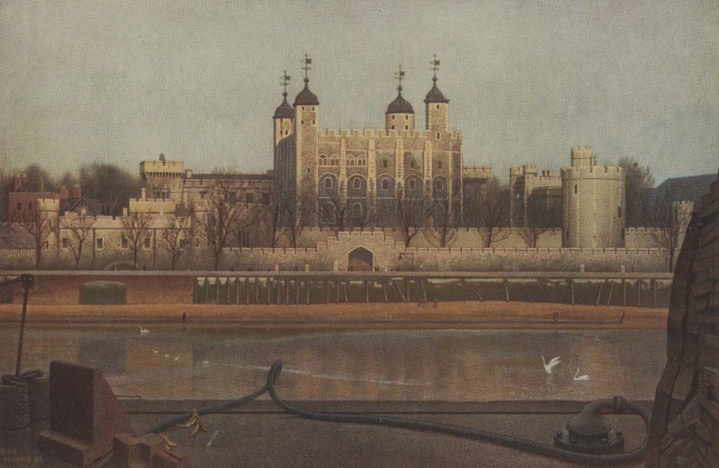 a painting of a view across the River Thames towards the Tower of London