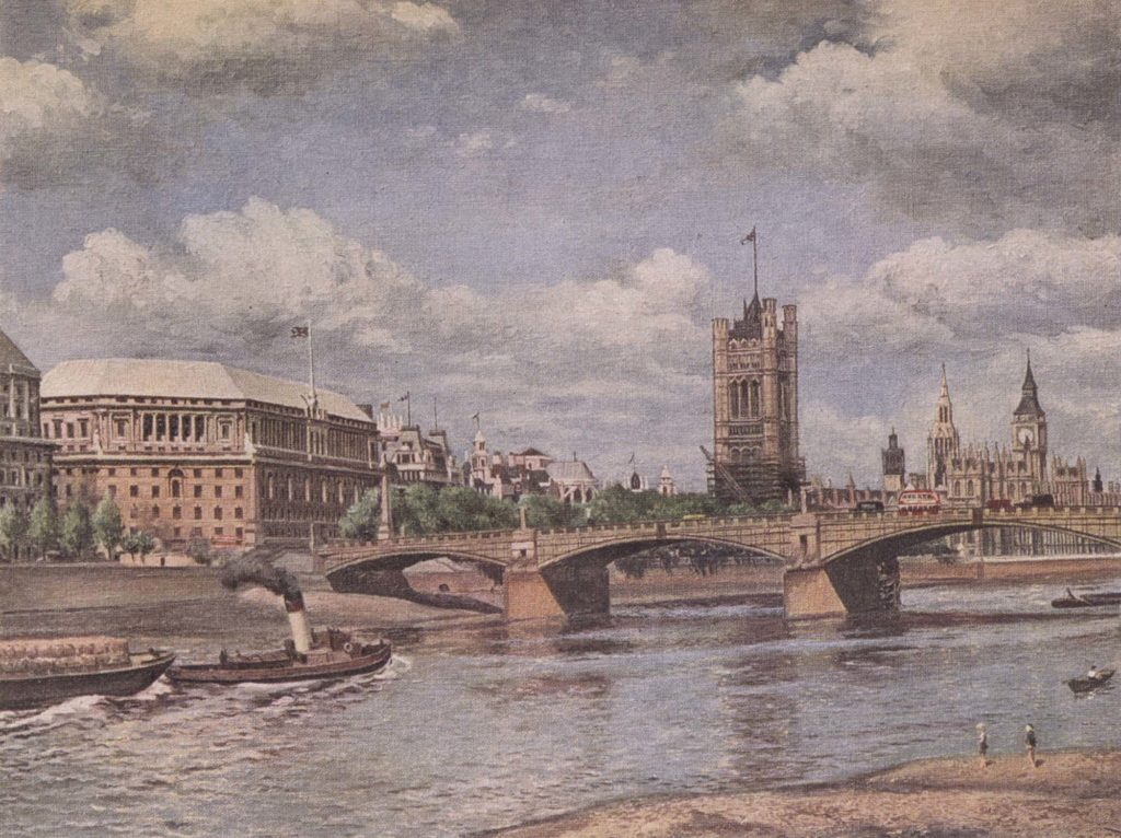 a pinted view across the Thames toward Tower Bridge and the House of Commons