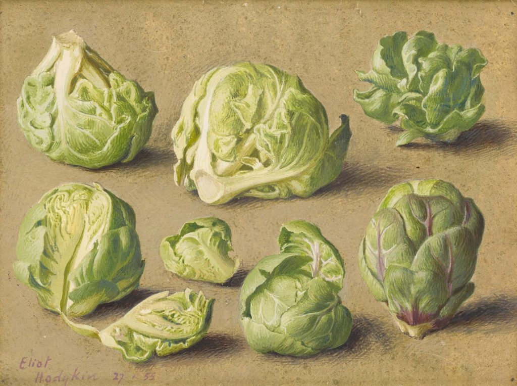 a still life of a grouping of brussel sprouts