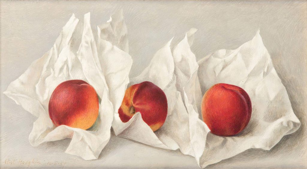 a painting of three red and rip nectarines unwrapped in their paper