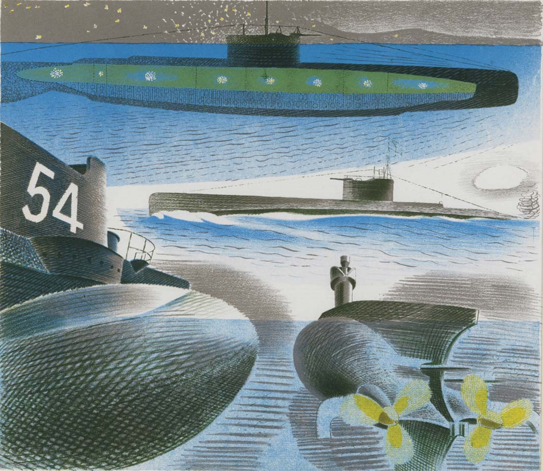 a watercolour showing different views of submarines