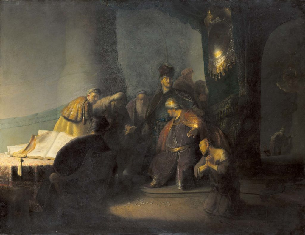 a painting of figures in a church