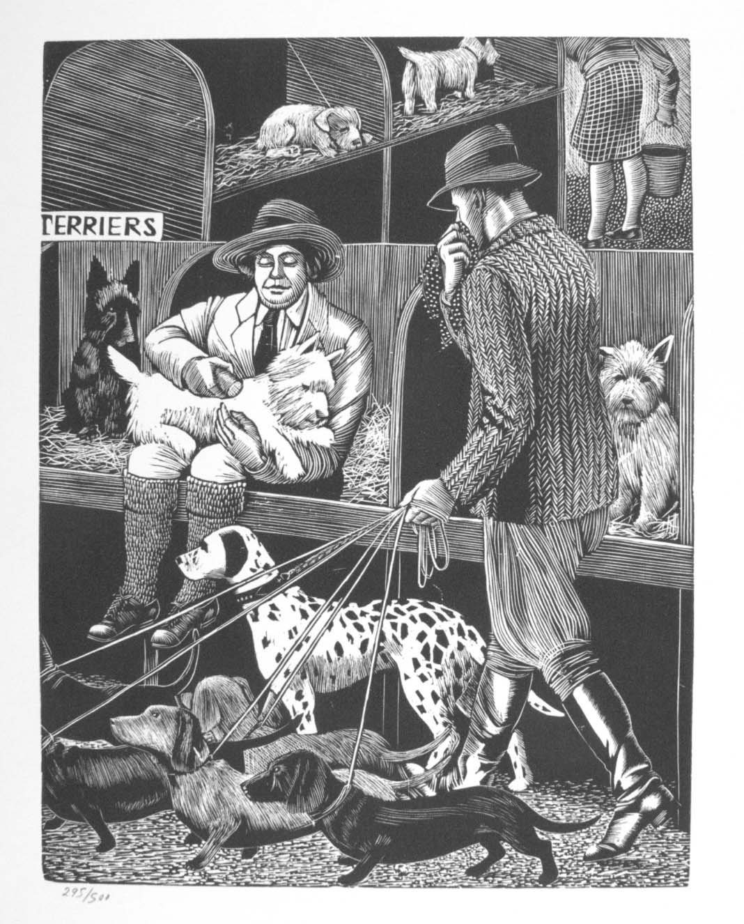 a black and white illustration woodcut of a dog show with a woman in a cubicle brushing a scotty dog as a man walks by with a dalmation
